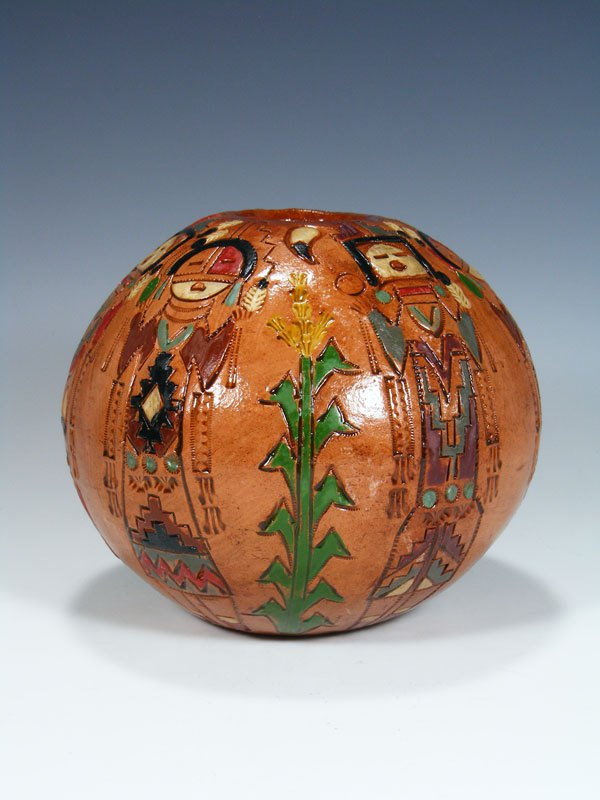 Navajo Hand Coiled Pine Pitch Carved Seed Pot