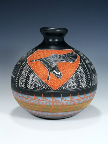 Navajo Etched Goose Hand Coiled Pottery Vase