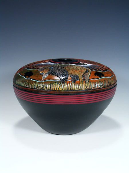 Navajo Etched Bison Hand Coiled Seed Pot