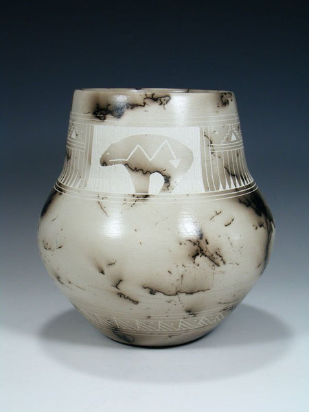 Etched Bear Horsehair Pottery Vase