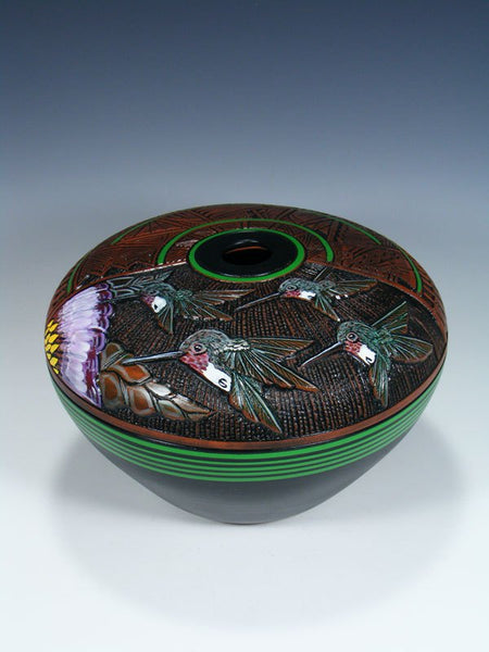 Navajo Etched Hummingbird Pottery Seed Pot