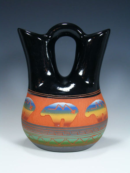 Navajo Etched Bear Pottery Wedding Vase