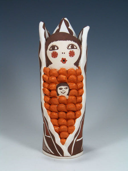 Acoma Pueblo Hand Made Pottery Corn Maiden Storyteller