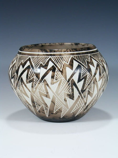 Etched Pottery Horsehair Pottery Bowl
