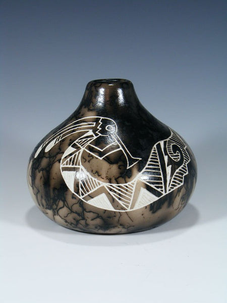 Etched Pottery Horsehair Flute Player Seed Pot