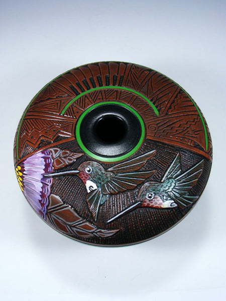Navajo Etched Hummingbird Hand Etched Pottery