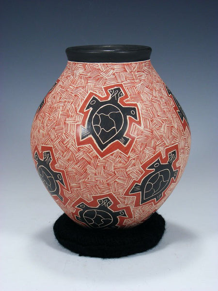 Mata Ortiz Hand Coiled Etched Turtle Pottery