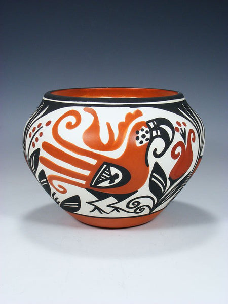Acoma Pueblo Hand Painted Parrot Pottery Bowl