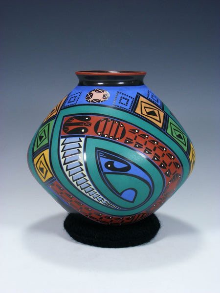 Mata Ortiz Hand Coiled Pottery Bowl