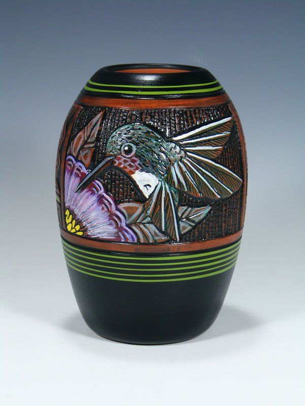 Navajo Etched Hummingbird Pottery