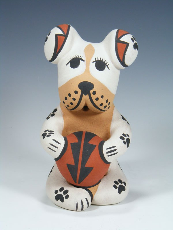 Jemez Pueblo Pottery Storyteller Dog Figurine