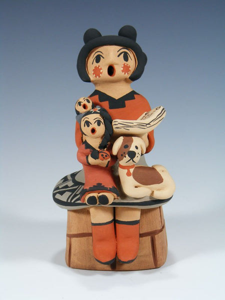 Jemez Pueblo Pottery Storyteller Kids and Dog Family