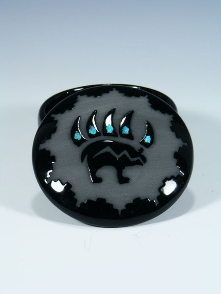 San Juan Pueblo Black Pottery Bear Paw Jewelry Box