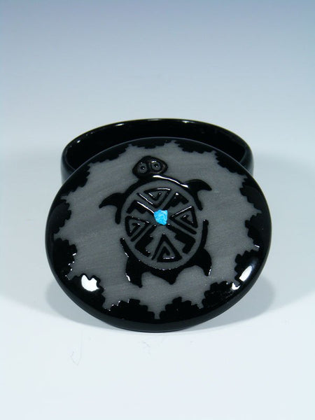 San Juan Pueblo Black Pottery Turtle Jewelry Box