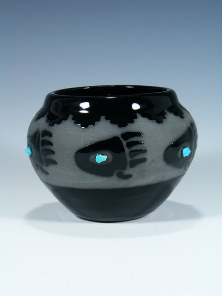 San Juan Pueblo Black Pottery Bear Paw Bowl