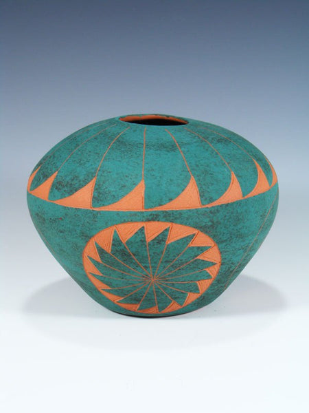 Acoma Pueblo Pottery Turquoise Seed Pot