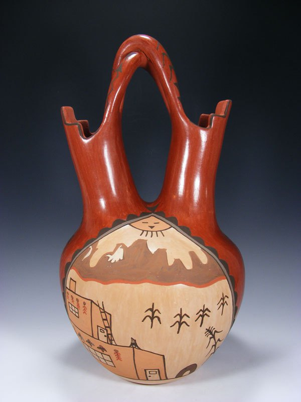 Large Jemez Pueblo Pottery Hand Coiled Wedding Vase