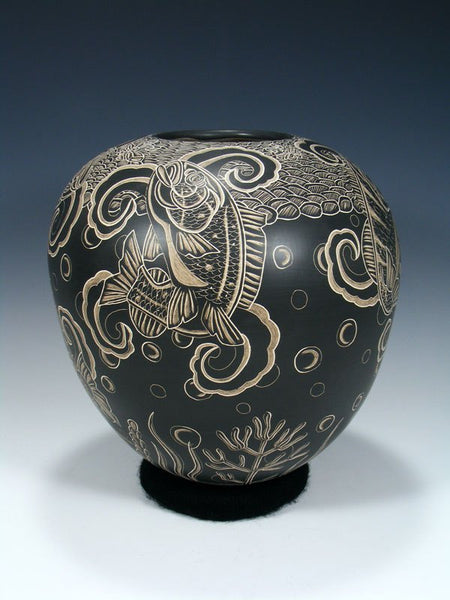 Mata Ortiz Hand Coiled Etched Koi Fish Pottery