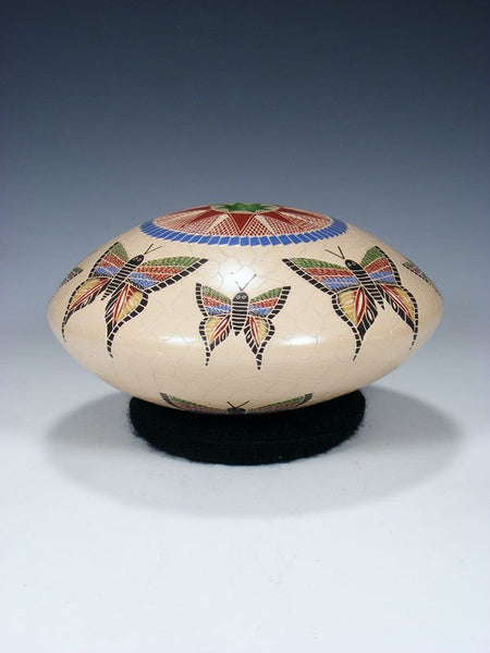 Mata Ortiz Hand Etched Butterfly Pottery Seed Pot