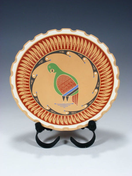 Mata Ortiz Hand Coiled Pottery Etched Bird Plate With Stand