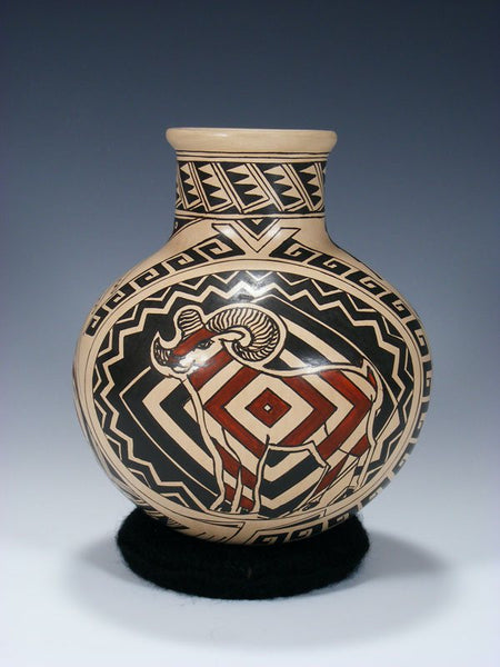 Mata Ortiz Hand Coiled Painted Geometric Pottery