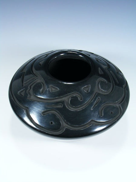 Santa Clara Hand Coiled Black Carved Pottery