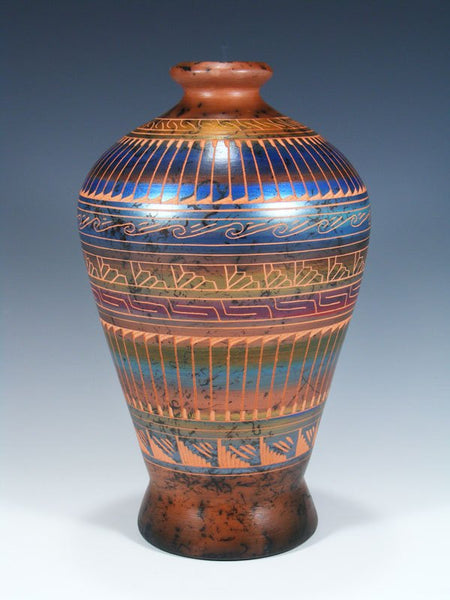 Painted Etched Navajo Horsehair Pottery Vase