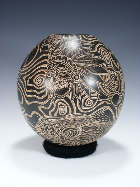 Mata Ortiz Hand Coiled Etched Chief Skull Pottery