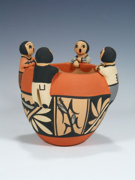 Jemez Pueblo Pottery 4 Child Storyteller Bowl