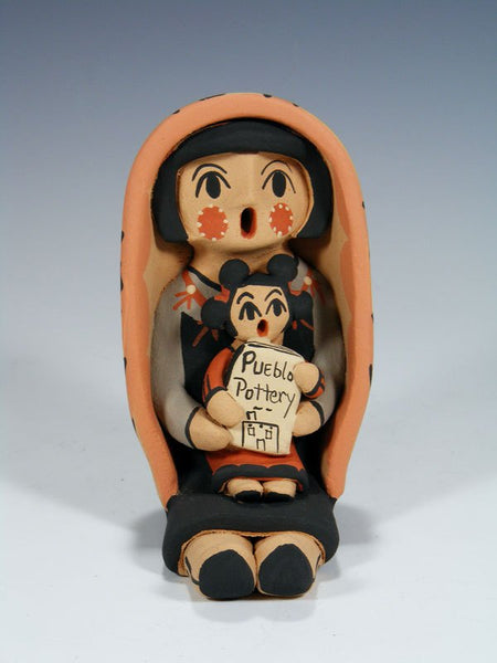 Jemez Pueblo Pottery Child With Book Storyteller