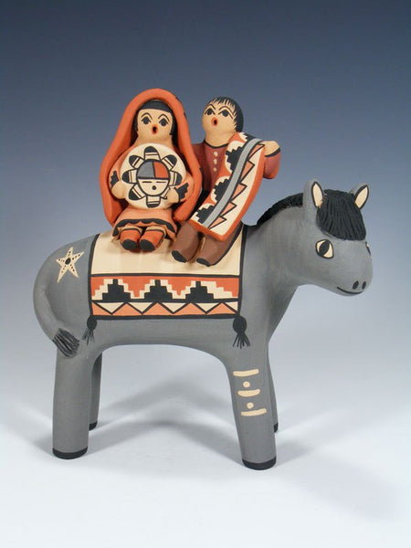 Jemez Pueblo Pottery Family On Horse Storyteller Doll