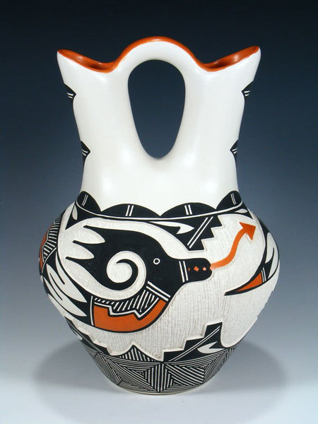 Acoma Pueblo Pottery Carved Wedding Vase