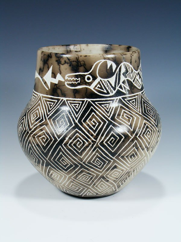 Etched Avanyu Pottery Horsehair Olla