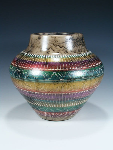 Painted Etched Navajo Horsehair Pottery Bowl