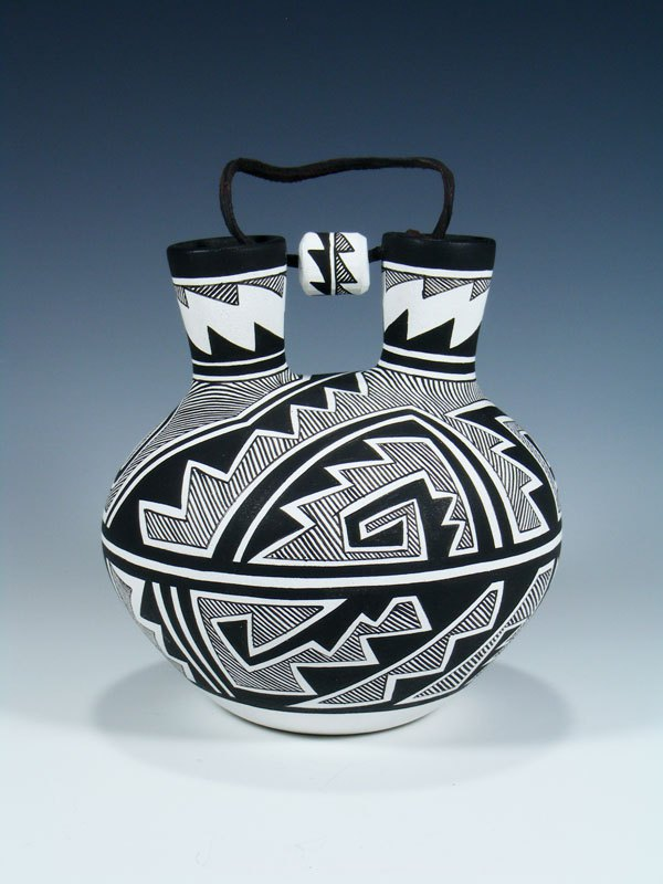 Acoma Pueblo Pottery Painted Double Spouted Canteen