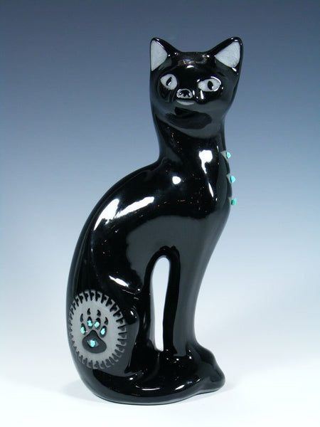 San Juan Pueblo Black Pottery Sitting Cat