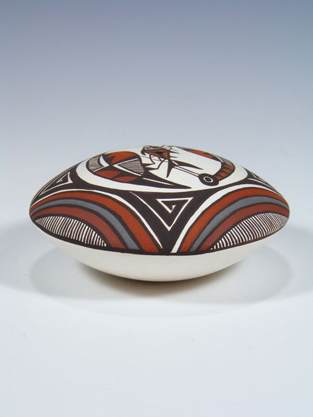 Hand Coiled Acoma Pueblo Pottery Seed Pot