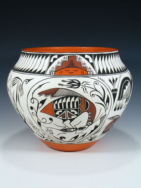 Acoma Pueblo Pot Nature Scene Pottery Bowl