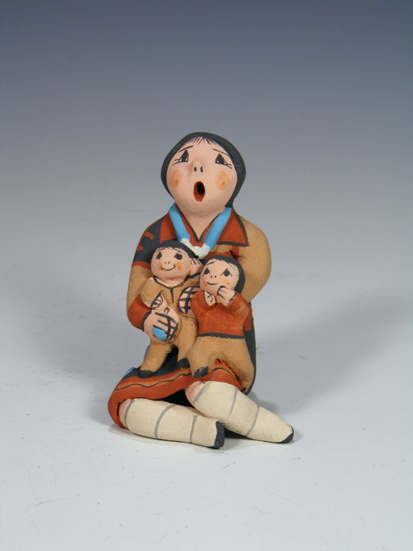 Jemez Pueblo Pottery Mother and Two Children Storyteller