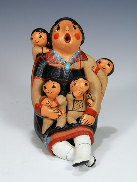 Jemez Pueblo Pottery Mother and Four Children Storyteller