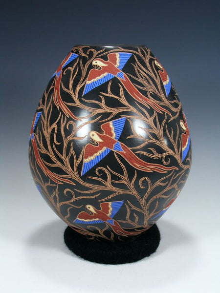 Mata Ortiz Painted and Etched Bird Pottery