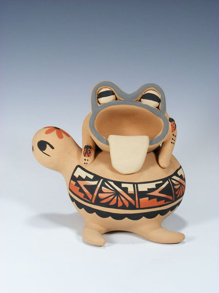 Jemez Pueblo Pottery Storyteller Turtle and Frog