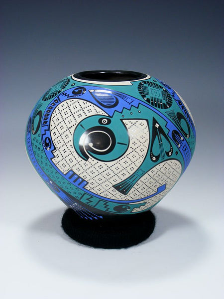 Mata Ortiz Hand Coiled Pottery Seed Pot