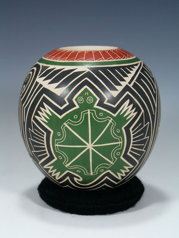 Mata Ortiz Hand Coiled Etched Turtle and Bird Pottery