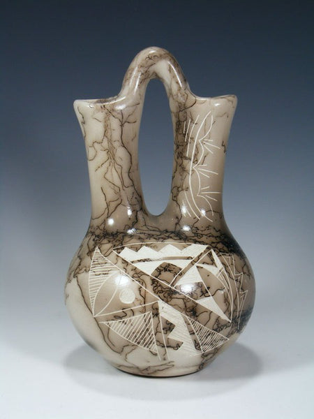 Navajo Etched Horsehair Pottery Wedding Vase