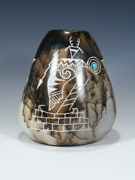 Acoma Etched Horsehair Pottery Vase