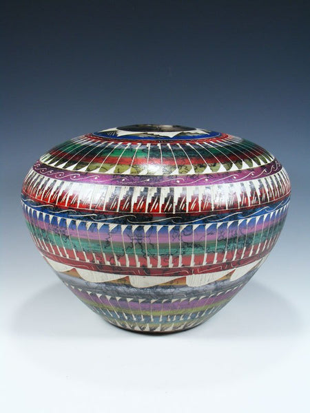 Painted Etched Navajo Horsehair Pottery Seed Pot
