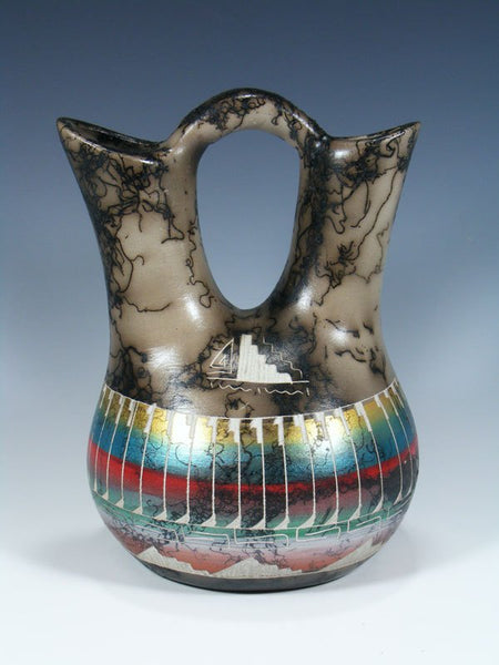 Etched Painted Horsehair Pottery Wedding Vase