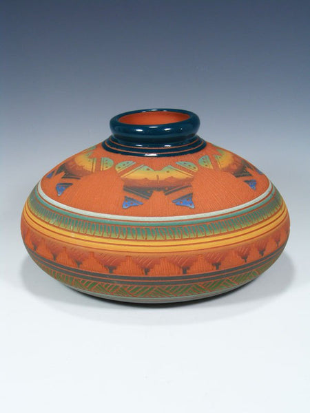 Navajo Etched Pottery Butterfly Vase