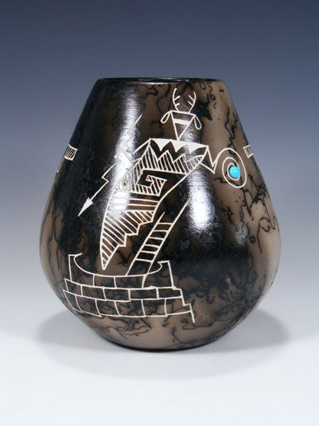 Acoma Etched Dancer Horsehair Pottery Bowl
